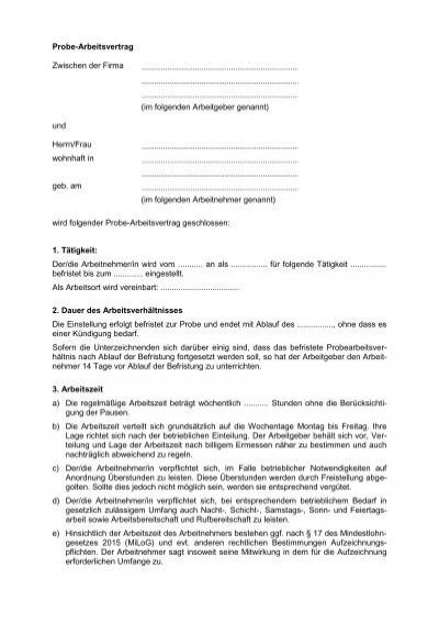 Probe-Arbeitsvertrag Zwischen der Firma (im ... - Gruender-MV.de
