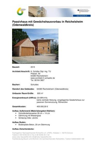 Passivhaus aufbau  Passivhaus mit Gewächshausvorbau in Reichelsheim ... - FNR