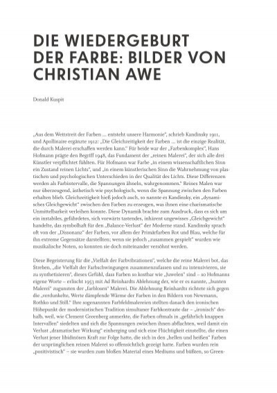 Die WieDergeburt Der Farbe: bilDer von Christian aWe