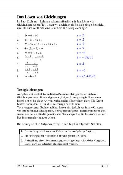 Textgleichungen und Gleichungssysteme mit zwei Unbekannten