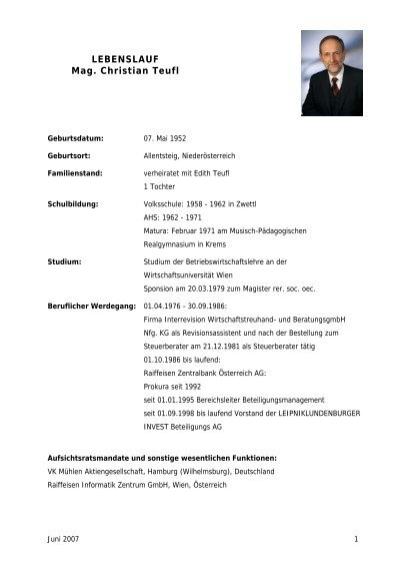LEBENSLAUF Mag. Christian Teufl - Agrana