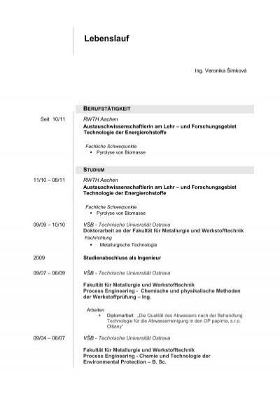 Lebenslauf - Lehr- und Forschungsgebiet Technologie der ...
