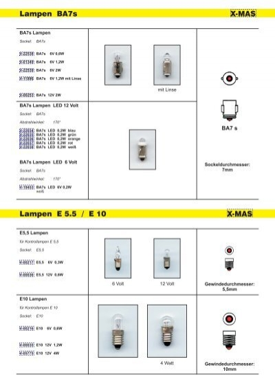 10x Glühlampe Glühbirne Röhrenlampe Lampe Birne Ersatz E5,5 E5 6V 0,08A 0,48W