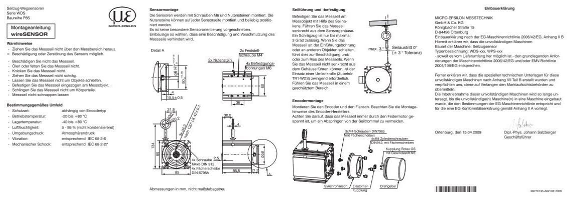 montageanleitung wiresensor mechanik p85 pdf 630 kb. Black Bedroom Furniture Sets. Home Design Ideas