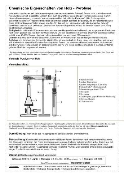 arbeitsblatt chemische eigenschaften von holz pyrolyse. Black Bedroom Furniture Sets. Home Design Ideas