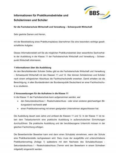 Informationen Fã¼r Praktikumsbetriebe Und Bbs Soltau