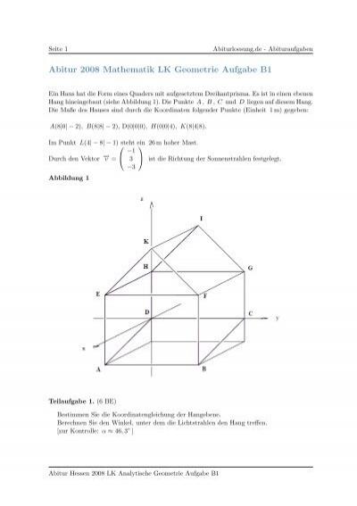 abitur 2008 mathematik lk geometrie aufgabe b1. Black Bedroom Furniture Sets. Home Design Ideas