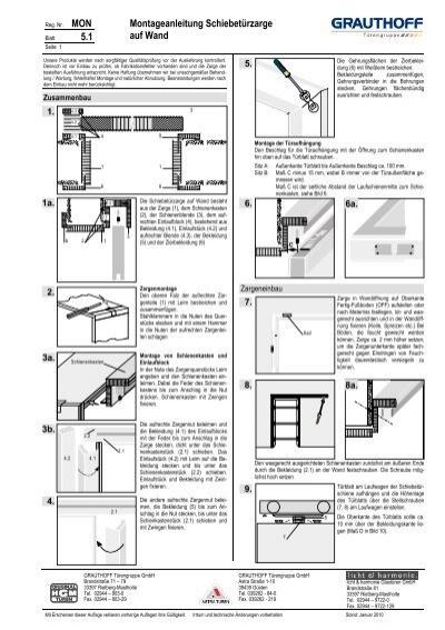 5 1 montageanleitung schiebet rzarge auf wand grauthoff. Black Bedroom Furniture Sets. Home Design Ideas