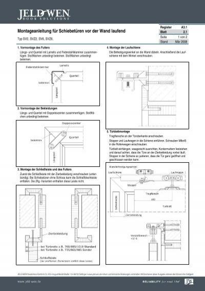 2 1 montageanleitung f r schiebet ren vor der wand jeld wen. Black Bedroom Furniture Sets. Home Design Ideas