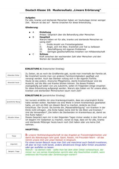 deutsch klasse 10 musteraufsatz lineare errterung - Lineare Erorterung Beispiel Klasse 8