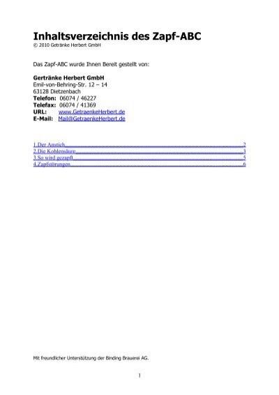 Inhaltsverzeichnis des Zapf-ABC - Getränke Herbert GmbH
