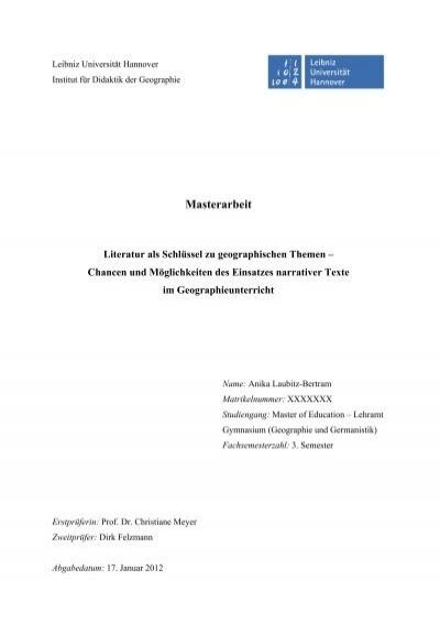 Masterarbeit Didaktik Der Geographie Leibniz Universität Hannover