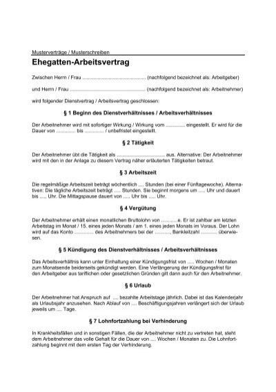 Ehegatten Arbeitsvertrag Bartmann Stbde