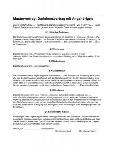 Mustervertrag Darlehensvertrag Mit Angehãrigen Bartmann Stbde