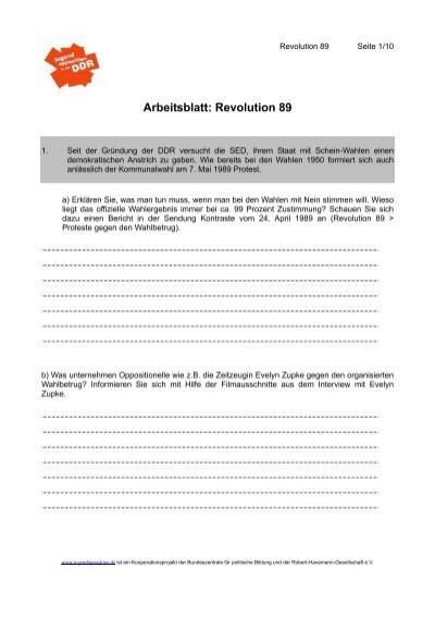 Arbeitsblatt: Revolution 89 - Jugendopposition in der DDR
