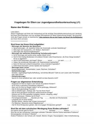Fragebogen für Eure Eltern zur Vorbereitung auf die