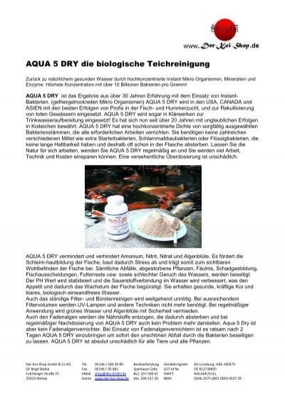 Aqua 5 Dry Die Biologische Teichreinigung Auf Der Koi Shop De