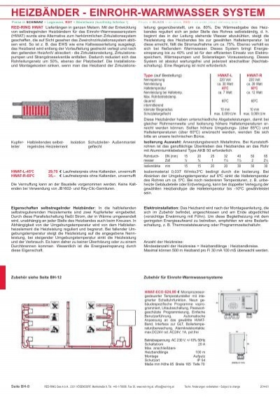 heizbänder - einrohr-warmwasser system - Red-Ring Ges.mbH