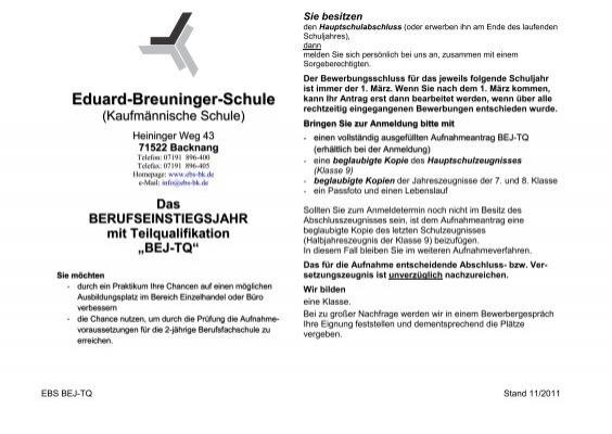 Bej Tq 30 Kb An Der Eduard Breuninger Schule