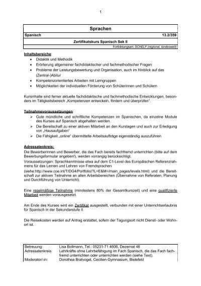 Zertifikatskurs Spanisch Sek II