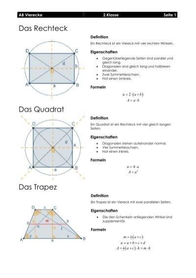 Das Rechteck Das Quadrat Das Trapez