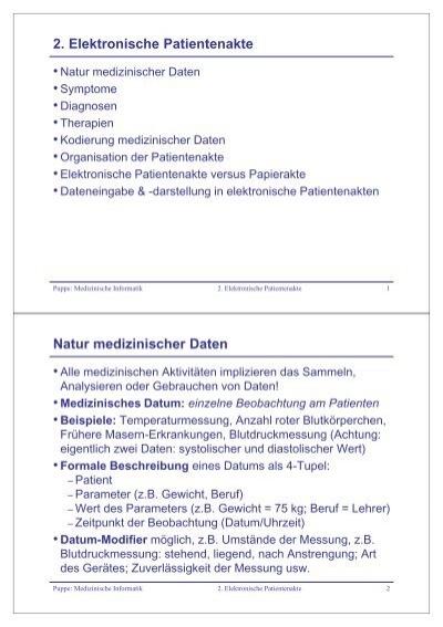 2. Elektronische Patientenakte Natur medizinischer Daten
