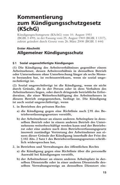 Kommentierung Zum Kündigungsschutzgesetz Kschg