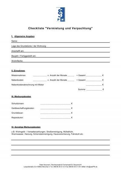 Checkliste Vermietung Und Verpachtung Steuerberater Peter