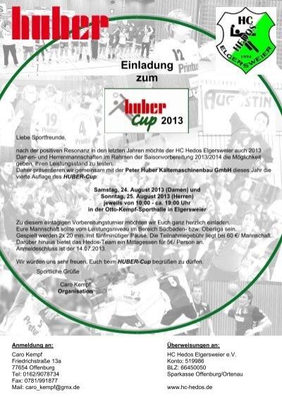 einladung handball huber cup - tus ottenheim, Einladung