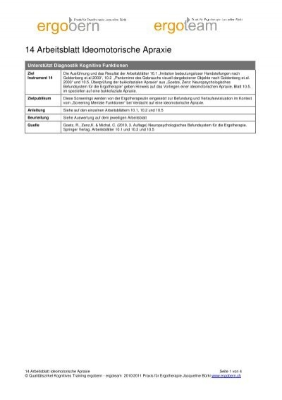 13 Arbeitsblatt Ideatorische Apraxie - Ergotherapie Jacqueline Bürki