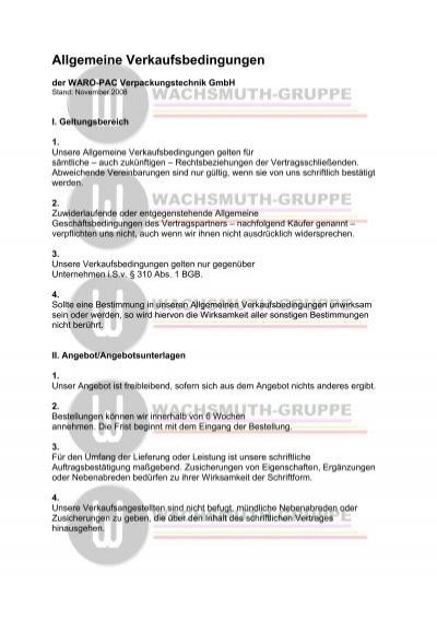 Allgemeine Verkaufsbedingungen Wachsmuth Gruppe