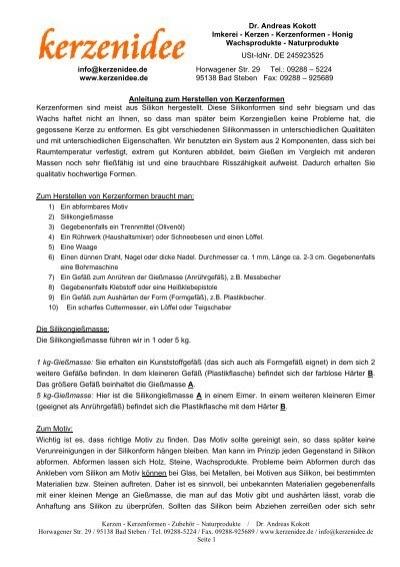 Dr. Andreas Kokott Imkerei - Kerzen - Kerzenformen - Honig ...
