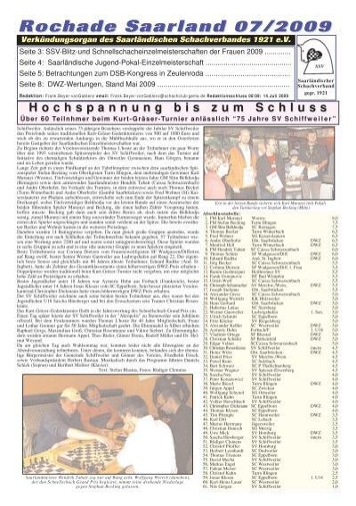 Rochade Saarland 07 2009 Saarlandischer Schachverband 1921 Ev