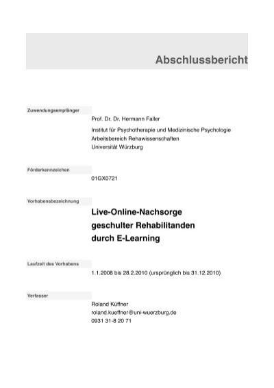Abschlussbericht Psychotherapie Und Medizinische Psychologie