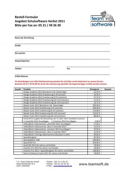 Bestell Formular Angebot Schulsoftware Herbst 2011 Bitte Per Fax An