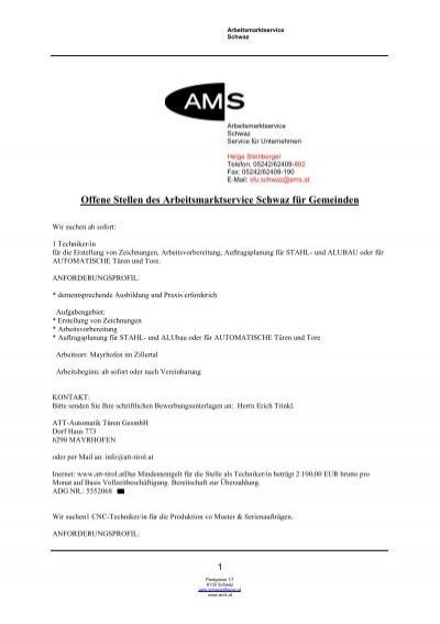 Offene Stellen Des Arbeitsmarktservice Schwaz Fur Gemeinden