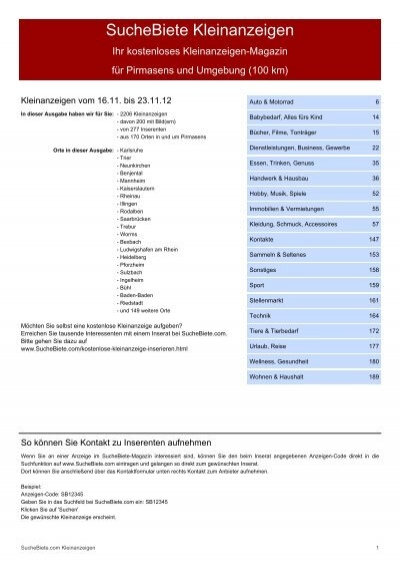 SucheBiete Kleinanzeigenzeitung Pirmasens Kostenlose