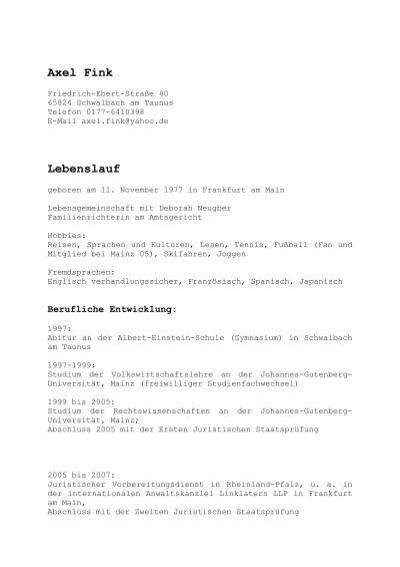 lebenslauf cv von axel fink cdu schwalbach - Johannes Gutenberg Lebenslauf
