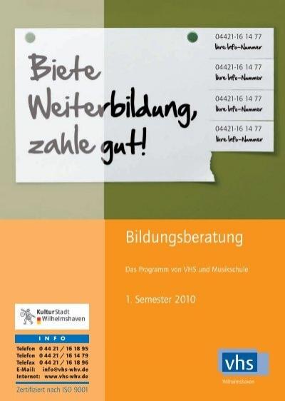 Vhs Umbruch Akt 1 2010 Volkshochschule Und Musikschule