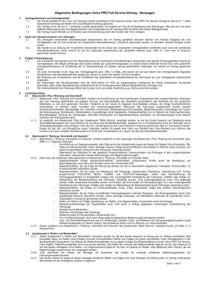 Allgemeine Bedingungen Volvo Pro Full Service Vertrag