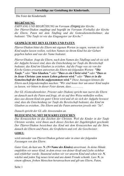 Die Feier Der Taufe Diakon Heribert Opp