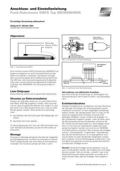 Anschluss Und Einstellanleitung Funk Rohrmotor Ewfs Warema