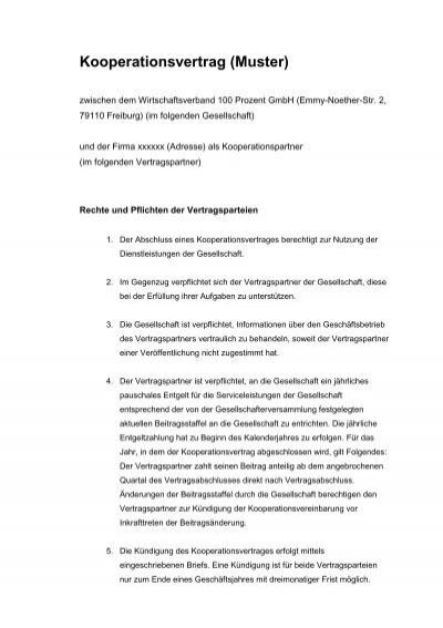 Erluterung Zum Kooperationsvertrag Bei Der Nbank Muster