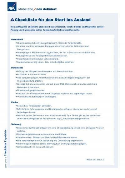 Checkliste Fa R Den Start Ins Ausland Das Plus Von Axa