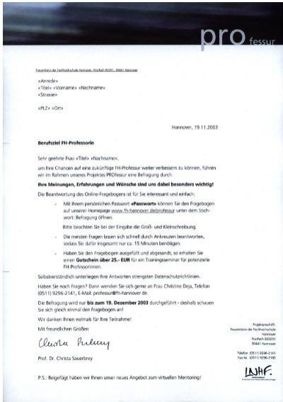 Anlage 5: Anschreiben / Erinnerungsschreiben - Professur