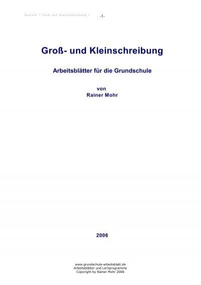 Groß- und Kleinschreibung - Grundschule Arbeitsblatt