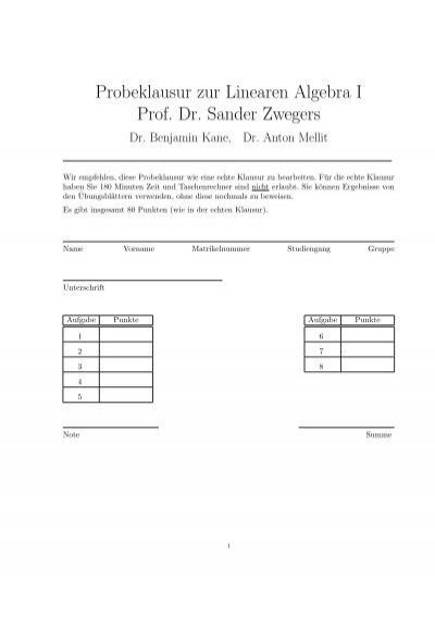 probeklausur zur linearen algebra i prof dr sander zwegers. Black Bedroom Furniture Sets. Home Design Ideas