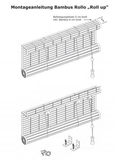 montageanleitung bambus rollo roll up. Black Bedroom Furniture Sets. Home Design Ideas
