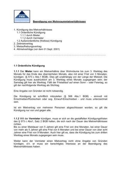 Beendigung Von Wohnraummietverhältnissen 1 Kündigung Des