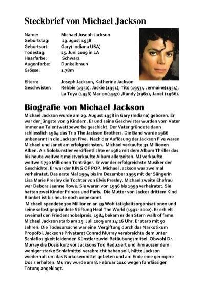 steckbrief von michael jackson biografie von michael part bernch - Michael Jackson Lebenslauf